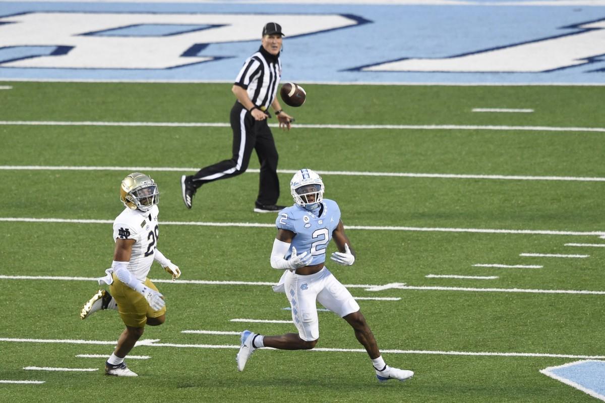 North Carolina Tar Heels wide receiver Dyami Brown (2) attempts to make a catch as Notre Dame cornerback TaRiq Bracy (28) defends. Mandatory Credit: Bob Donnan-USA TODAY Sports