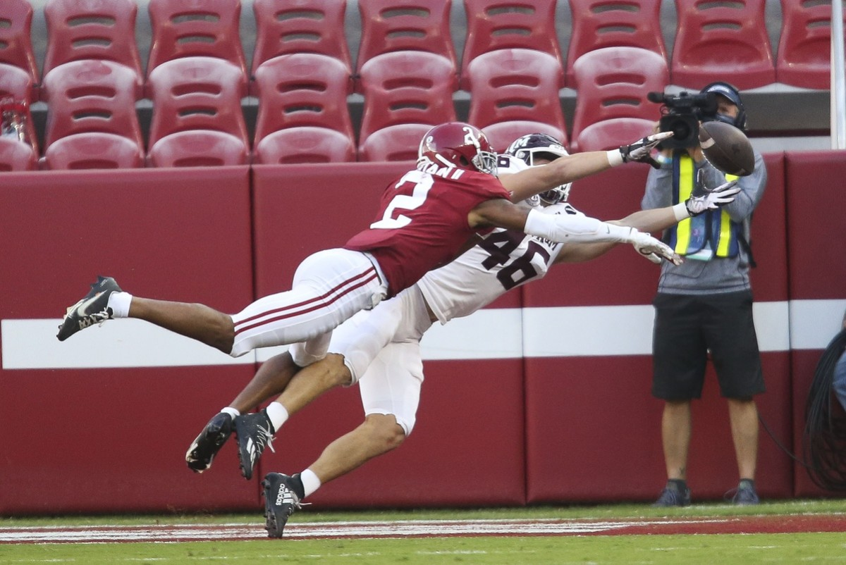 Alabama defensive back Patrick Surtain II (2) breaks up a pass intended for Texas A&M tight end Ryan Renick (46). Mandatory Credit: Gary Cosby Jr/The Tuscaloosa News via USA TODAY Sports