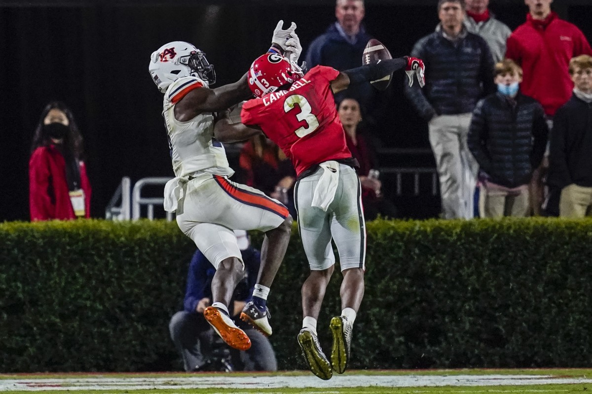 Georgia Bulldogs defensive back Tyson Campbell (3) breaks up a pass intended for Auburn wide receiver Seth Williams (18). Mandatory Credit: Dale Zanine-USA TODAY