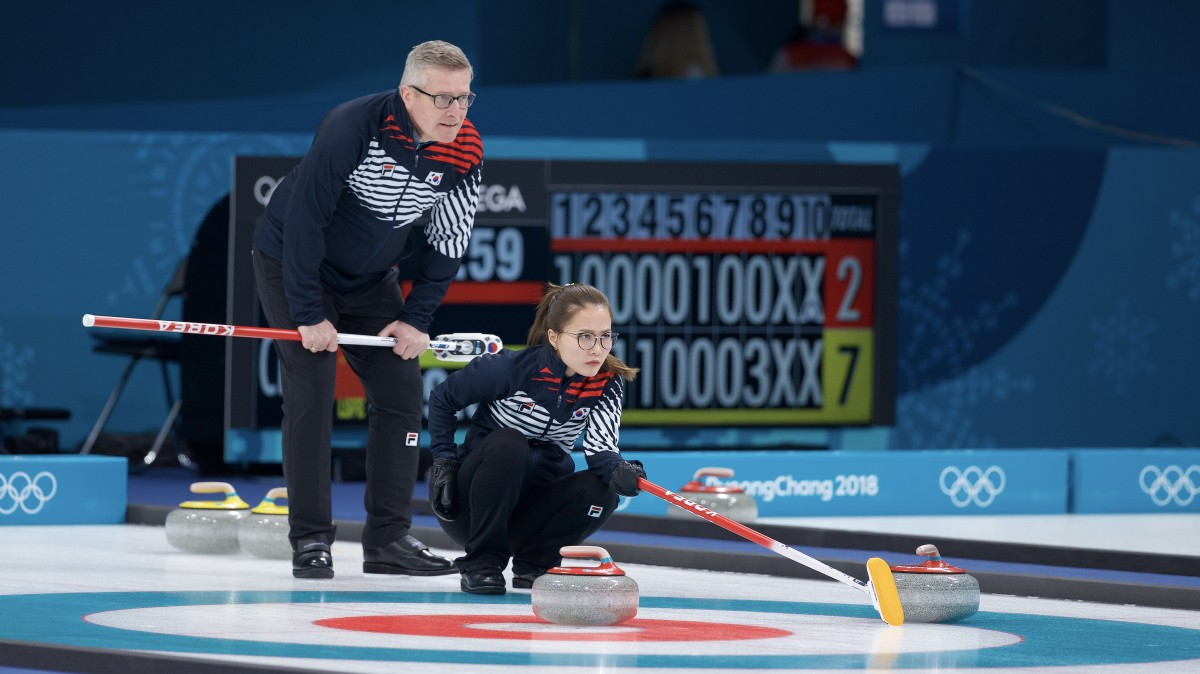 Gallant and Kim Eun-jung at Olympic practice • Anil Mungal-The Curling News