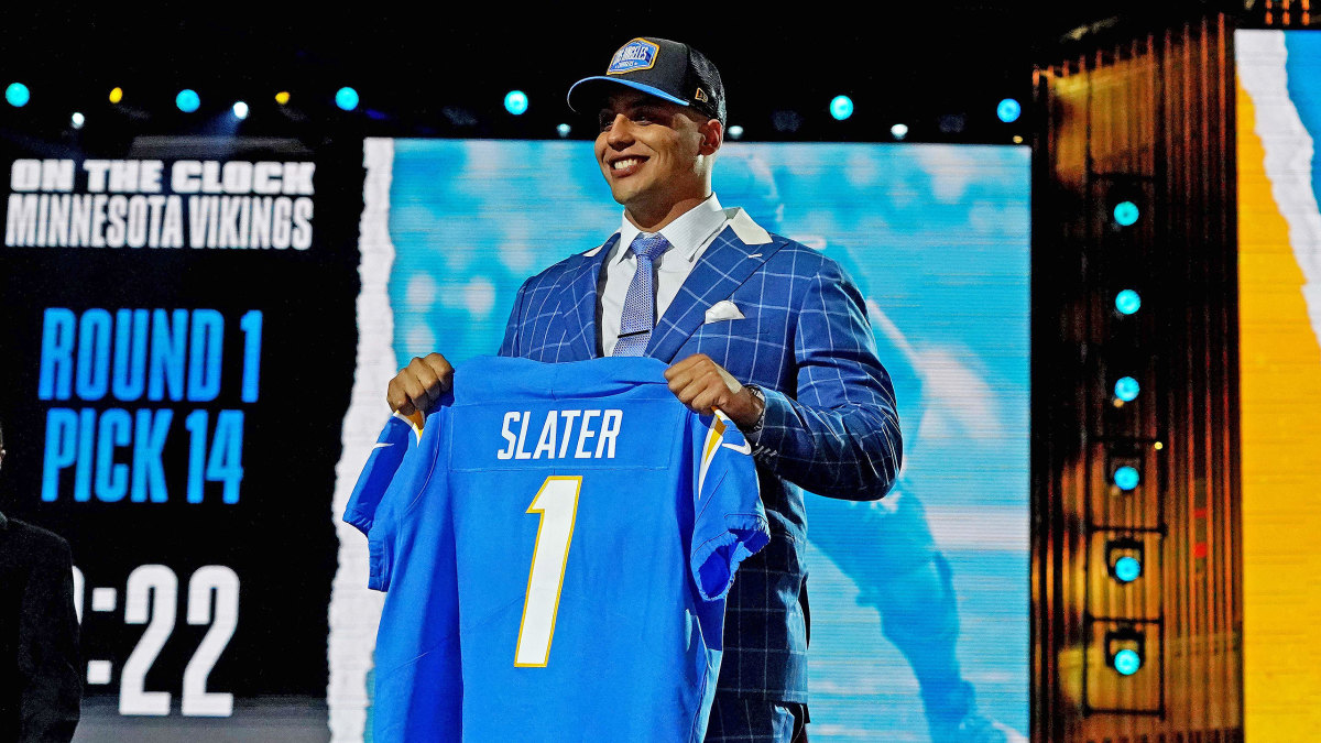 Northwestern's Rashawn Slater poses after being drafted by the Chargers