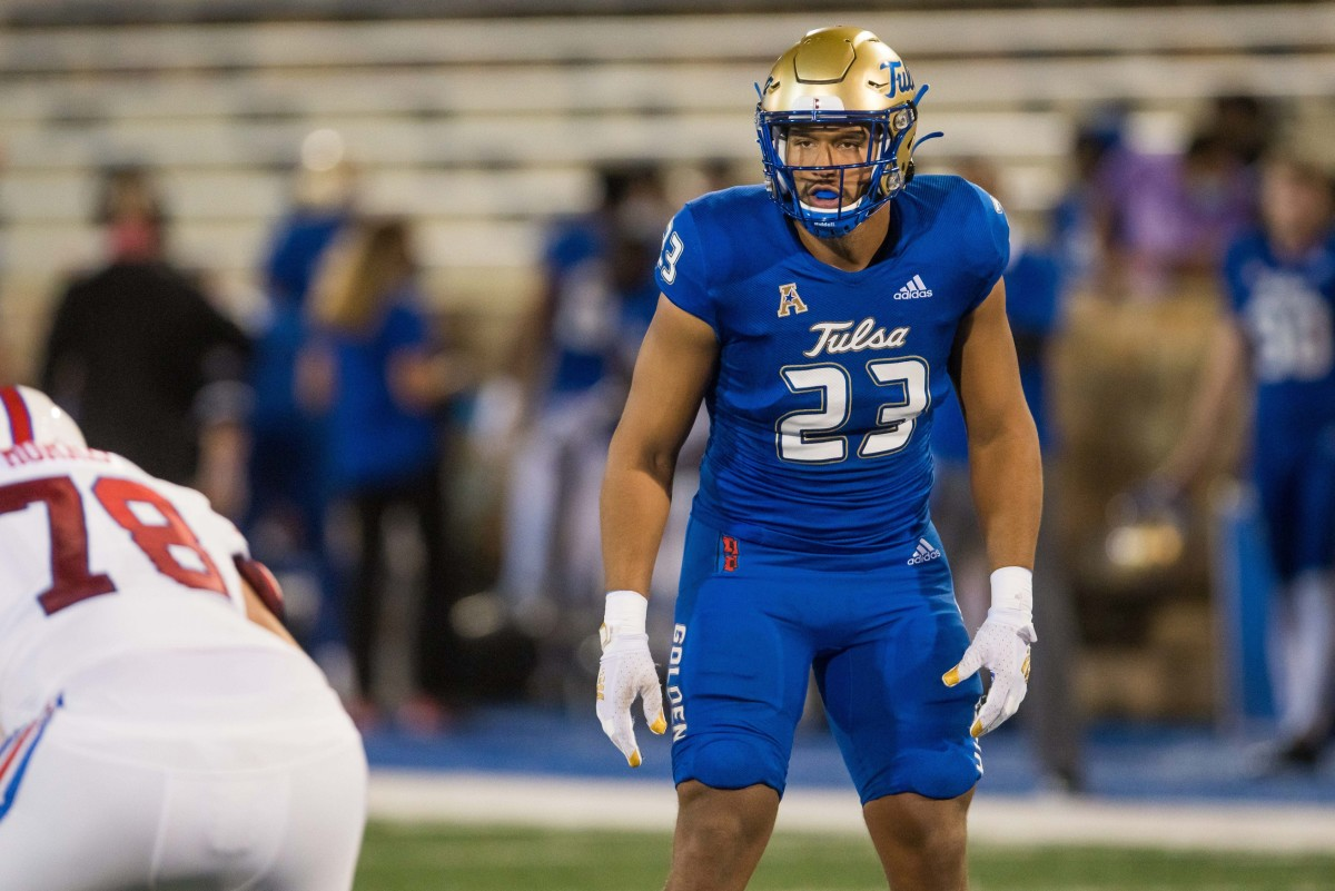 Tulsa Golden Hurricane linebacker Zaven Collins (23) gets ready for a play during the game against the Southern Methodist Mustangs at Skelly Field at H.A. Chapman Stadium. Tulsa won 28-24.