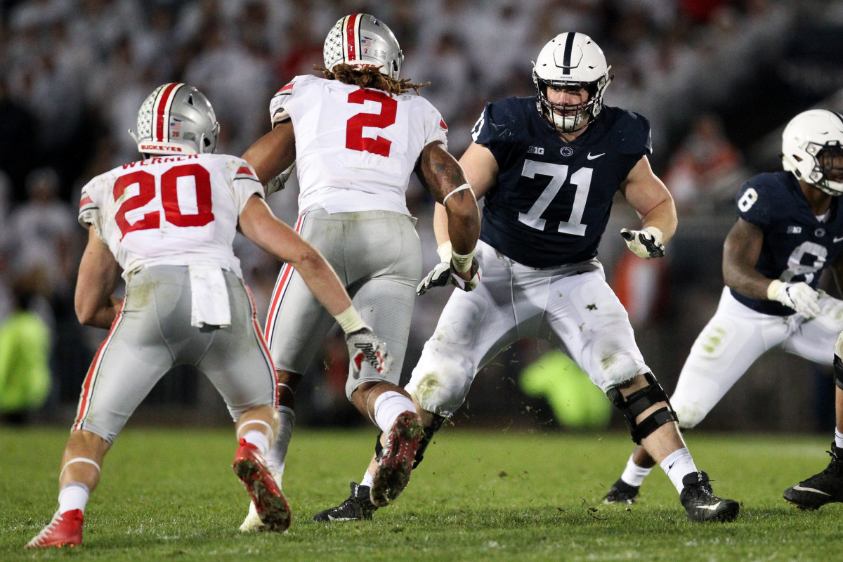 Sep 29, 2018; University Park, PA, USA; Penn State Nittany Lions offensive linesmen Will Fries (71) blocks during the fourth quarter against the Ohio State Buckeyes at Beaver Stadium. Ohio State defeated Penn State 27-26. Mandatory Credit: Matthew O'Haren-USA TODAY Sports