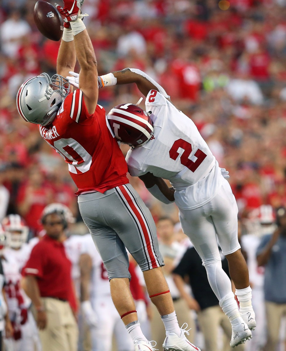 Ohio State Buckeyes linebacker Pete Werner (20) breaks up the pass intended for Indiana Hoosiers Reese Taylor (2). Mandatory Credit: Joe Maiorana-USA TODAY