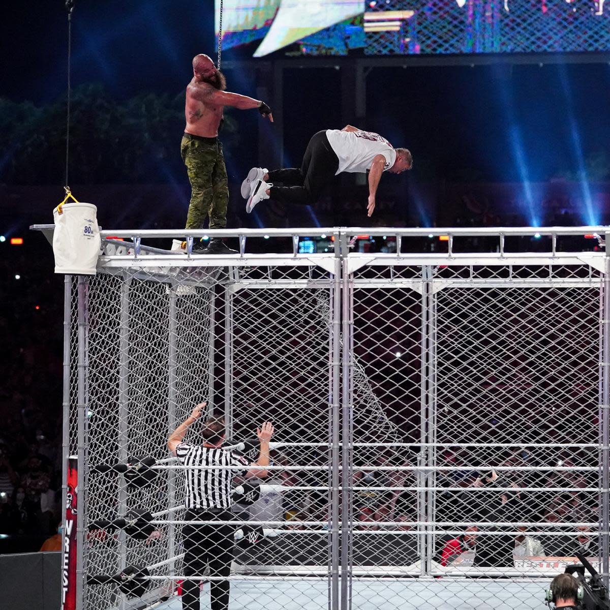 Braun Strowman throws Shane McMahon from the top of a steel cage