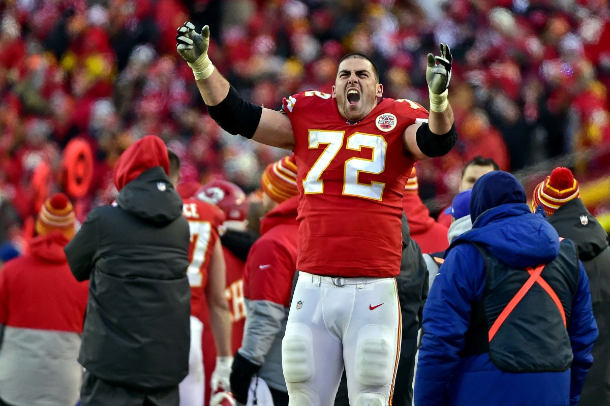 Jan 19, 2020; Kansas City, Missouri, USA; Kansas City Chiefs offensive tackle Eric Fisher (72) reacts during the second half against the Tennessee Titans in the AFC Championship Game at Arrowhead Stadium. Mandatory Credit: Jeff Curry-USA TODAY Sports