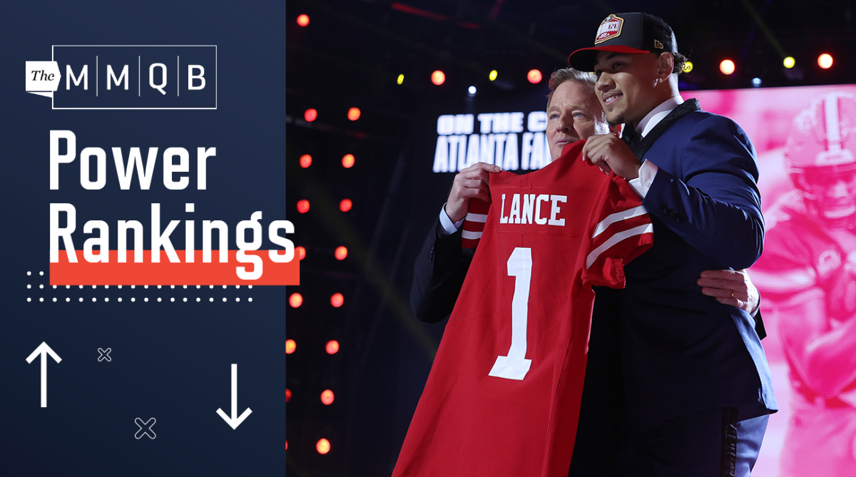 Trey Lance poses with NFL commissioner Roger Goodell after being selected by the 49ers in the 2021 NFL draft