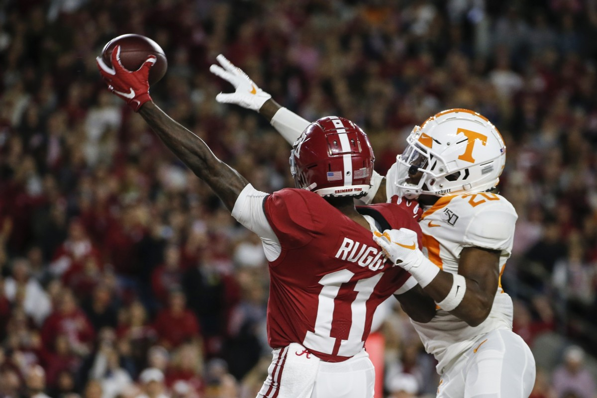Tennessee Volunteers defensive back Bryce Thompson (20) breaks up a pass intended for Alabama receiver Henry Ruggs III (11). Mandatory Credit: Butch Dill-USA TODAY