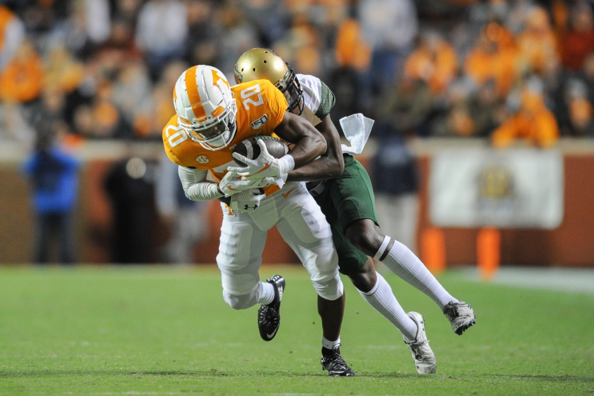Tennessee Volunteers defensive back Bryce Thompson (20) intercepts a pass intended for UAB receiver Myron Mitchell (5). Mandatory Credit: Randy Sartin-USA TODAY Sports