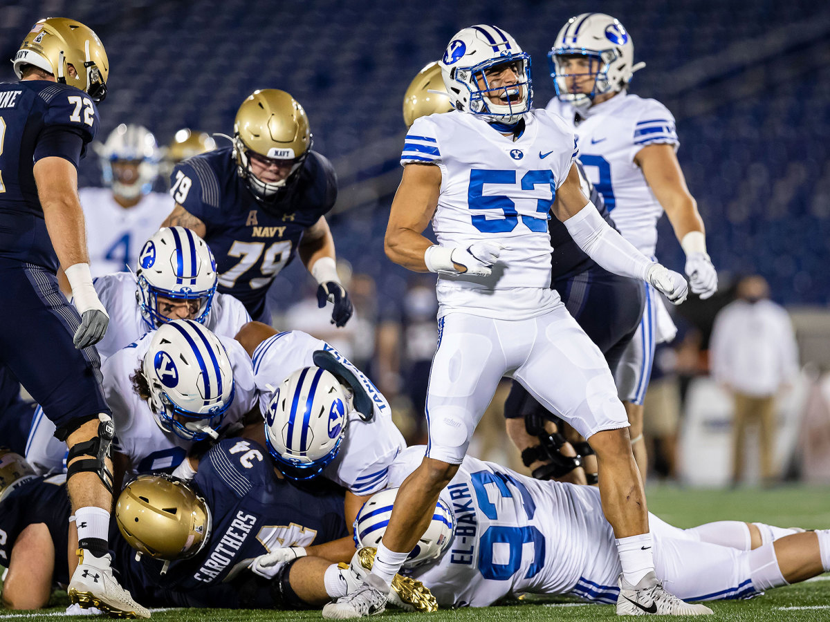 BYU celebrates a defensive play against Navy