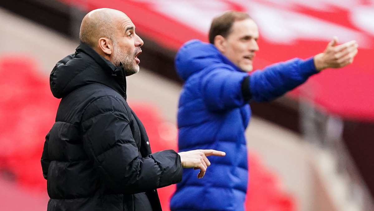 Man City manager Pep Guardiola and Chelsea manager Thomas Tuchel