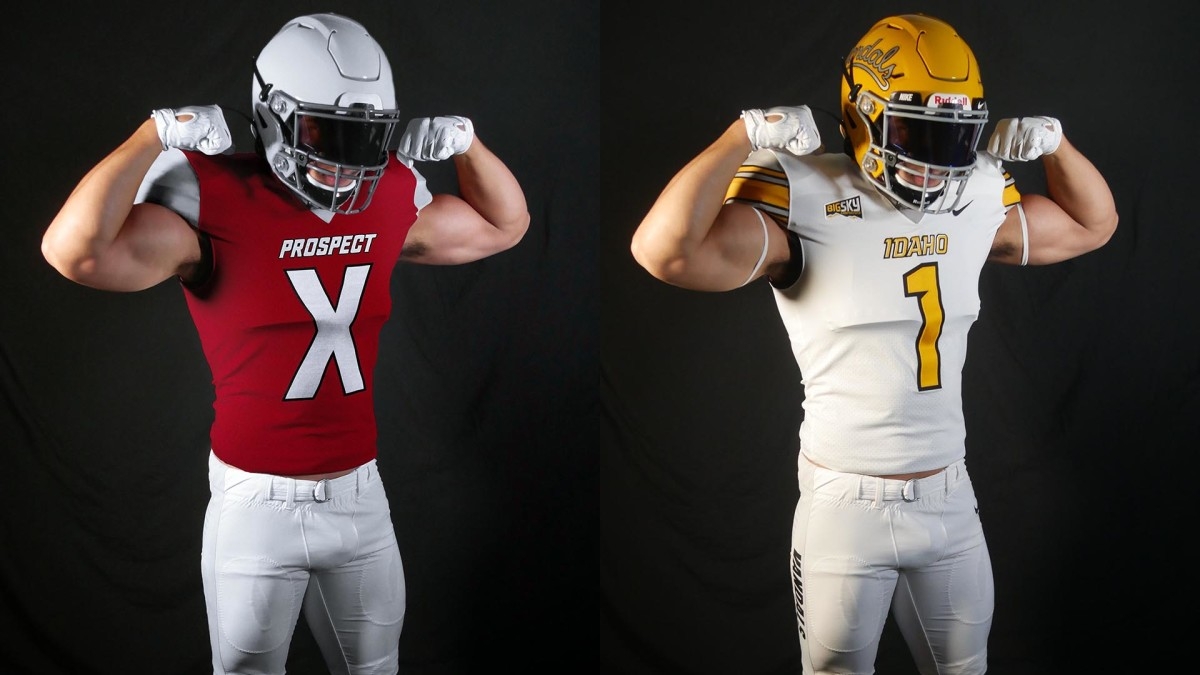 Christian Elliss poses, in a Prospect X uniform and in his Idaho uniform