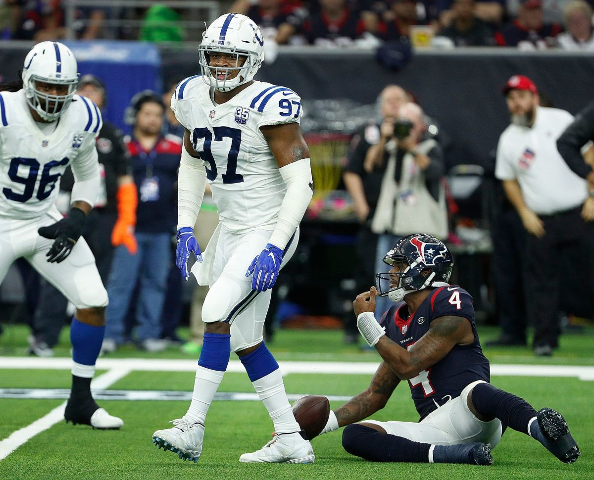 Indianapolis Colts defensive tackle Al-Quadin Muhammad (97) smiles after sacking Houston Texans quarterback Deshaun Watson (4) during their AFC Wild Card playoff game at NRG Stadium in Houston, TX., on Saturday, Jan. 5, 2019. Indianapolis Colts Play At Houston Texans