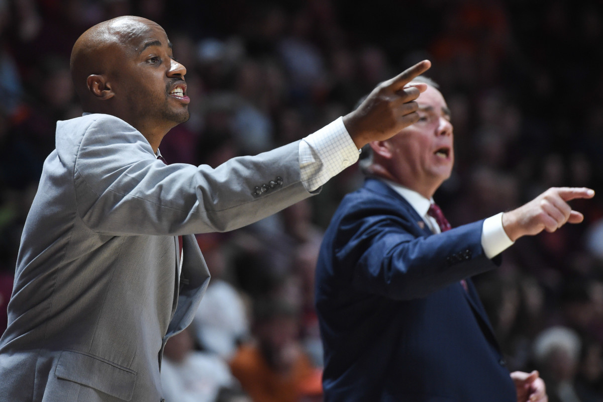 Virginia Tech Hokies assistant coach Chester Frazier instructs his team during a 2019 game against the Lehigh Mountain Hawks at Cassell Coliseum.