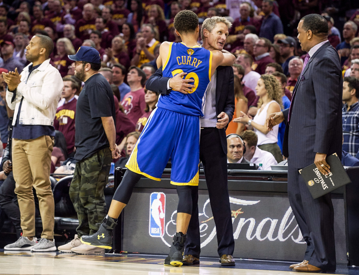 Curry and Kerr have shared nearly every NBA up-and-down over their seven seasons together—including this hug as they closed in on the 2015 title.