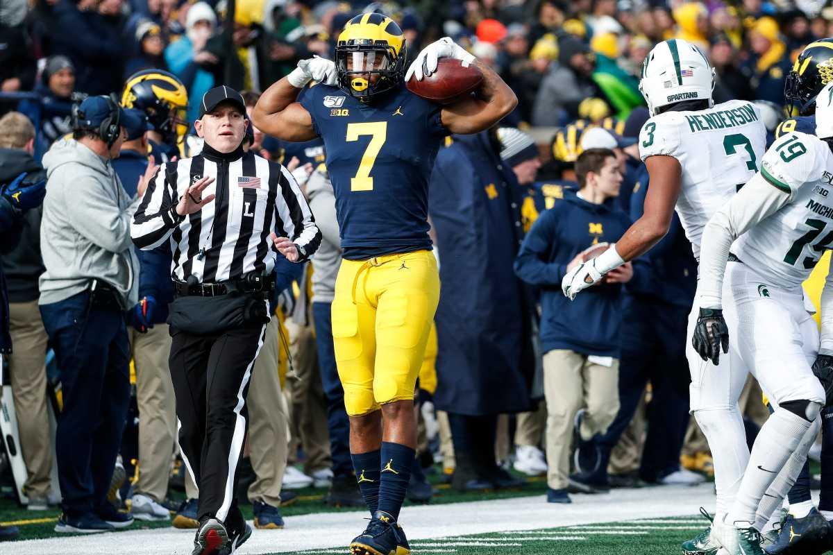 Michigan receiver Tarik Black celebrates a first down against Michigan State during the second half at Michigan Stadium in Ann Arbor, Saturday, Nov. 16, 2019.