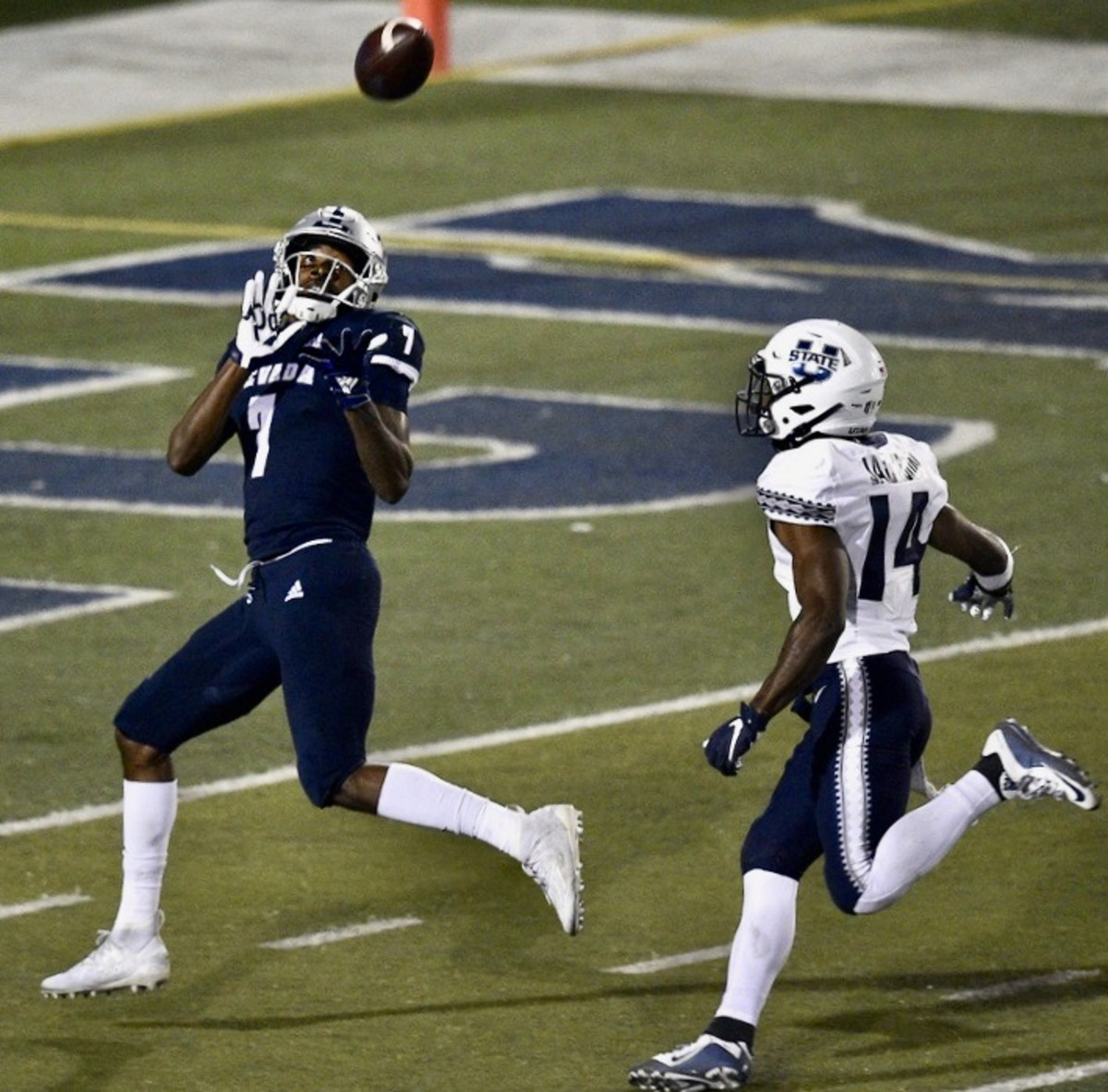 Nevada receiver Romeo Doubs hauls in a touchdown