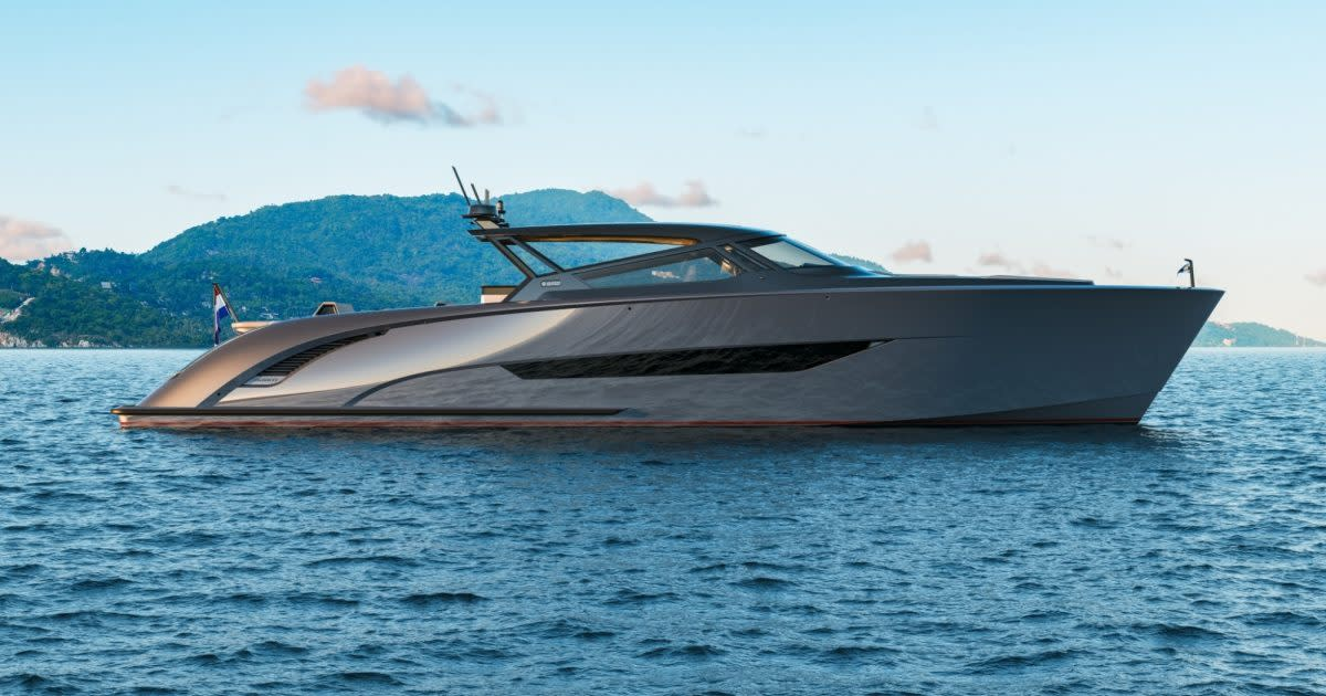 The Wajer 77 yacht in the water