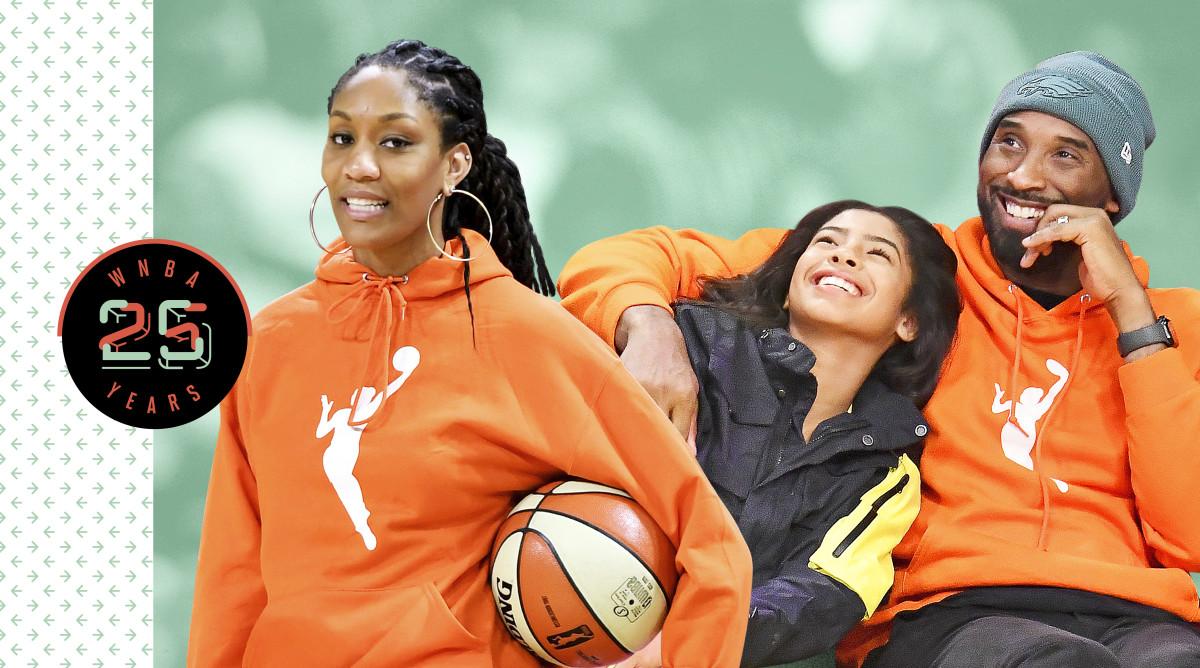 A'ja Wilson, Gianna Bryant and Kobe Bryant. Wilson and Kobe are wearing orange WNBA hoodies