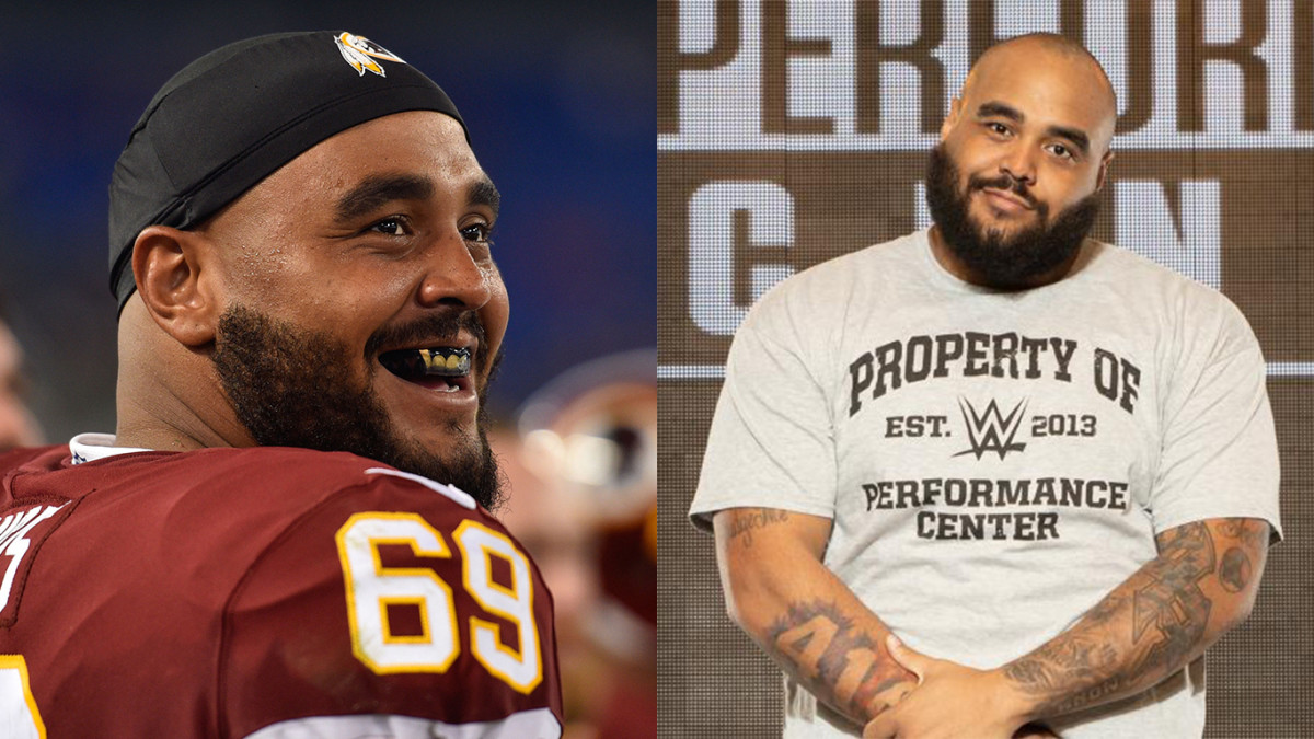Split photo of AJ Francis during his time with Washington's NFL team and the WWE