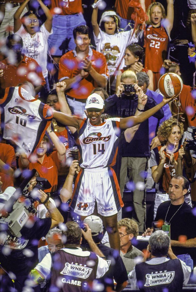Cynthia Cooper celebrates a Houston Comets championship