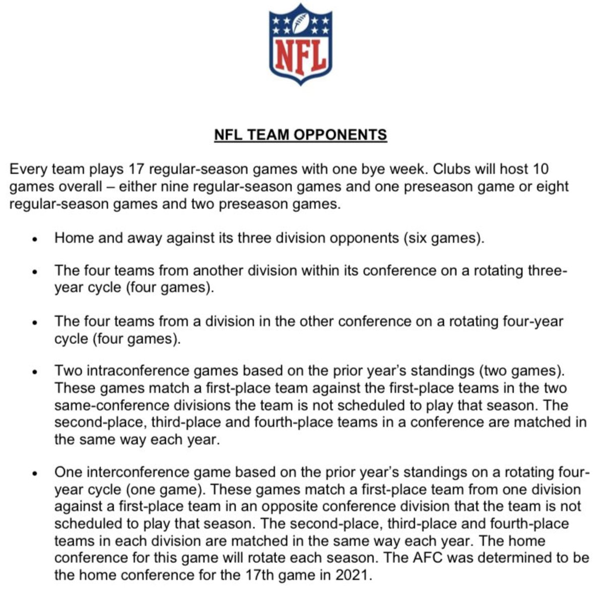 NFL memo sent out to all 32 NFL teams regarding opponents for the 2021 NFL season.