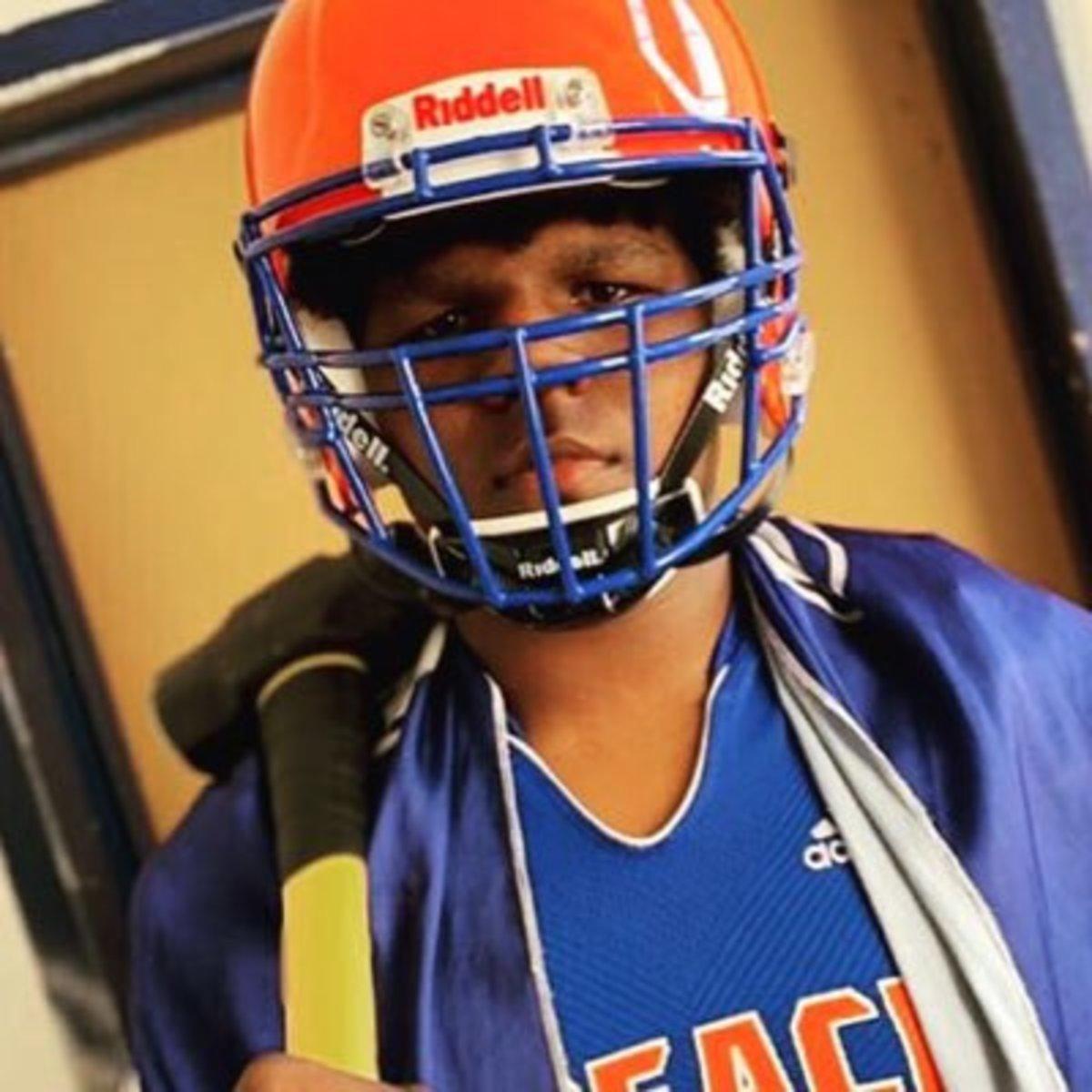 Josh Conerly Jr. wearing his high school gear.