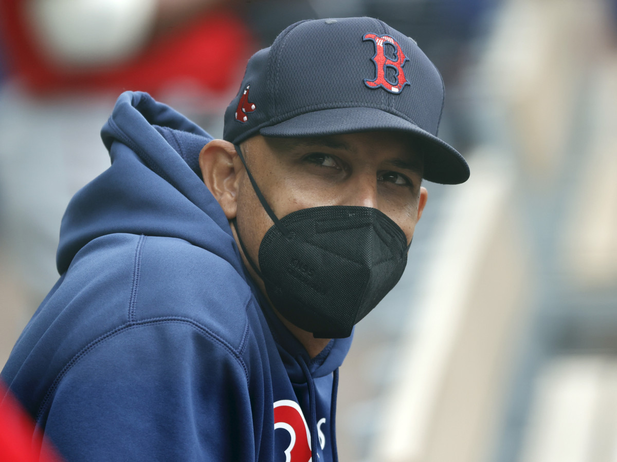 Boston Red Sox manager Alex Cora looks on during the first inning against the Atlanta Braves at CoolToday Park.