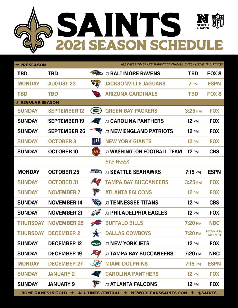 2021 Saints Schedule