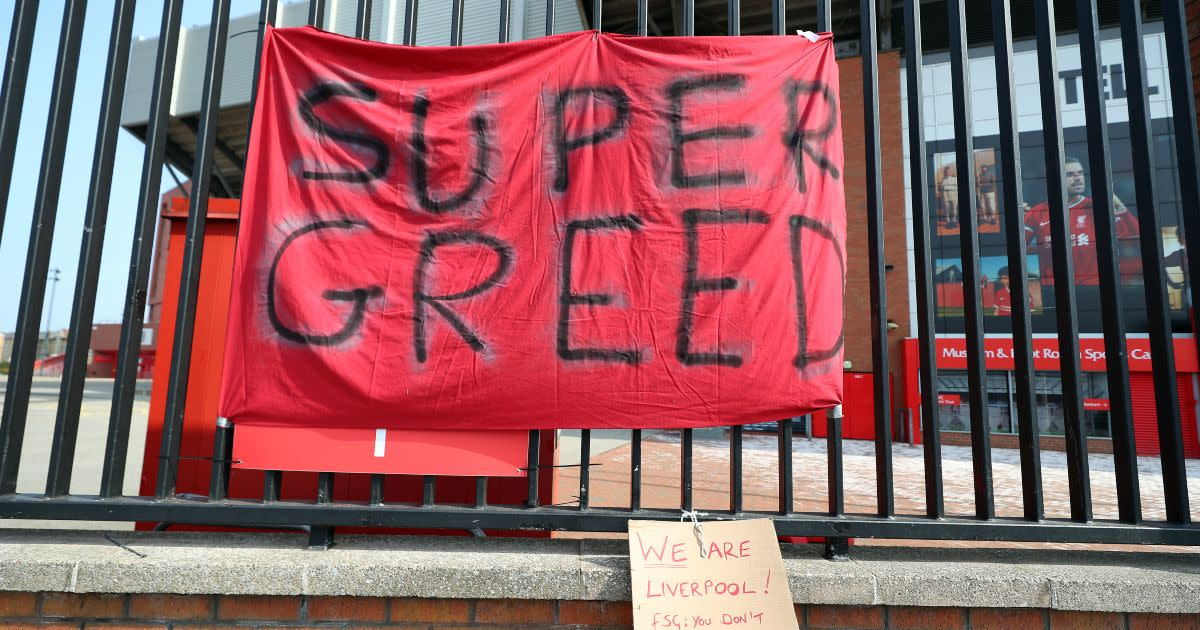 Liverpool supporters show their displeasure with FSG by hanging a banner outside of Anfield.
