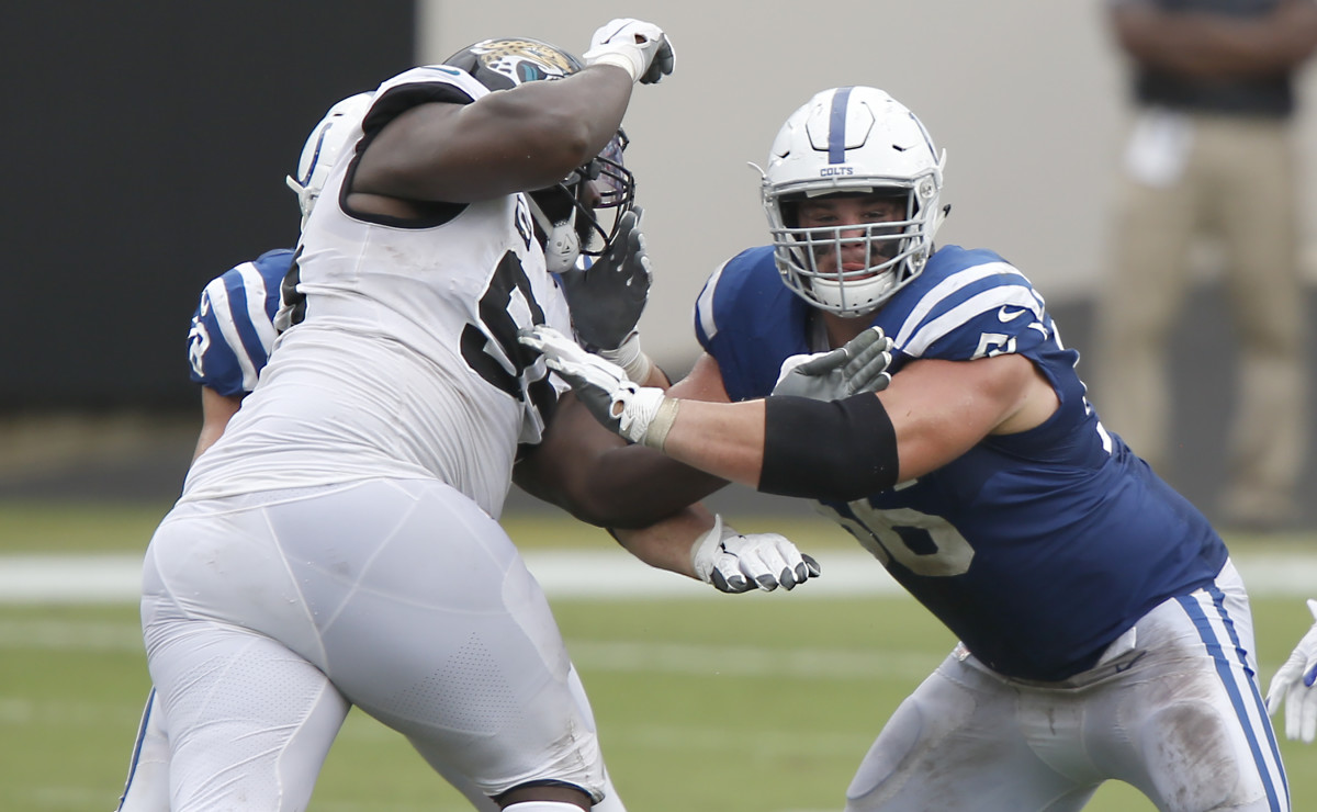 Sep 13, 2020; Jacksonville, Florida, USA; Indianapolis Colts offensive guard Quenton Nelson (right) guards Jacksonville Jaguars defensive tackle Abry Jones (left) during the second half at TIAA Bank Field.