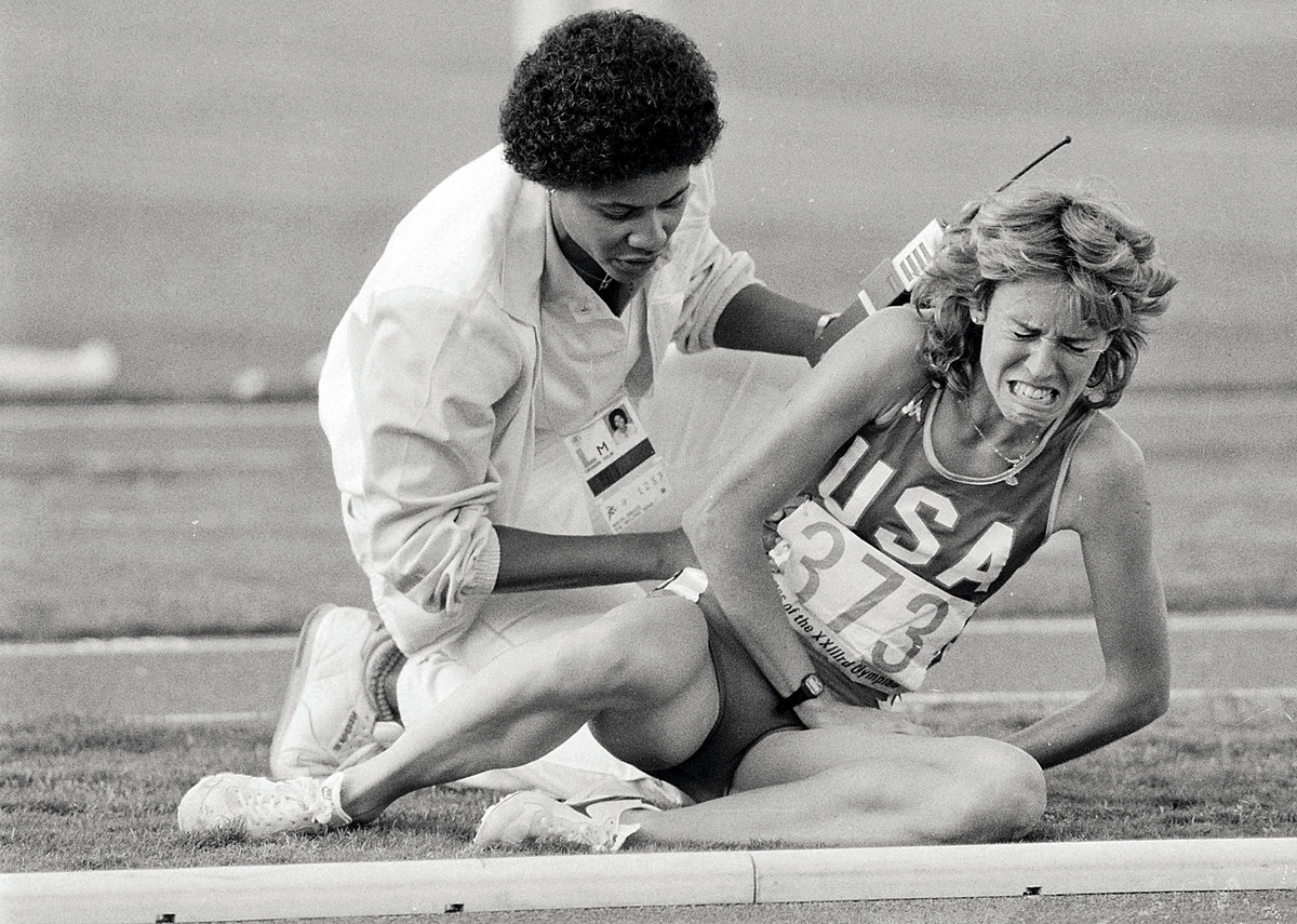 The L.A. Games were a showcase for women. Retton (top) and Miller (middle) felt the joy of victory; for Decker, it was the agony of tripped feet.