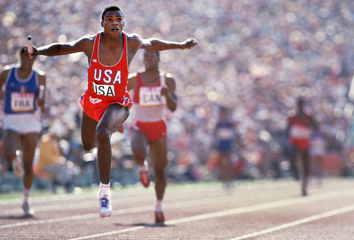 Ueberroth's planning made the Games possible; Lewis's four golds—including the 4x100 relay (above)—stole the show.