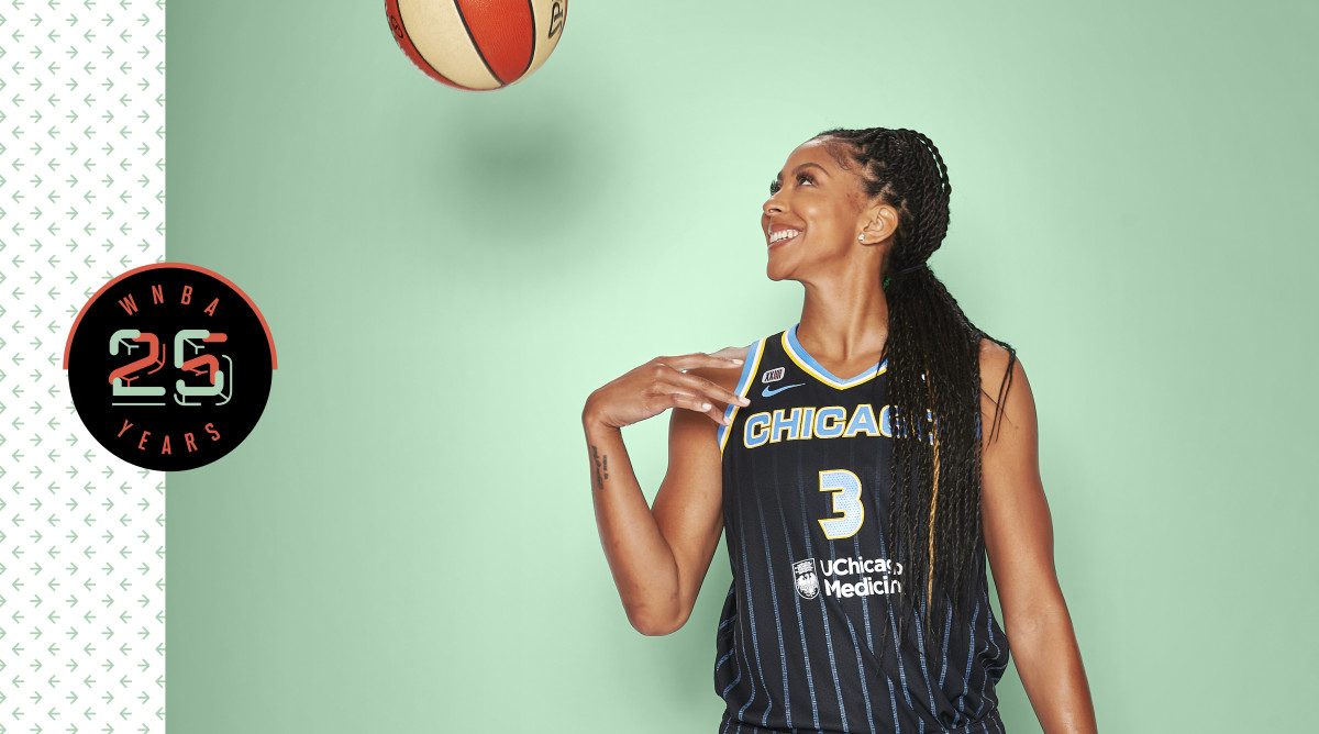 Candace Parker smiling and tossing a basketball against a green background