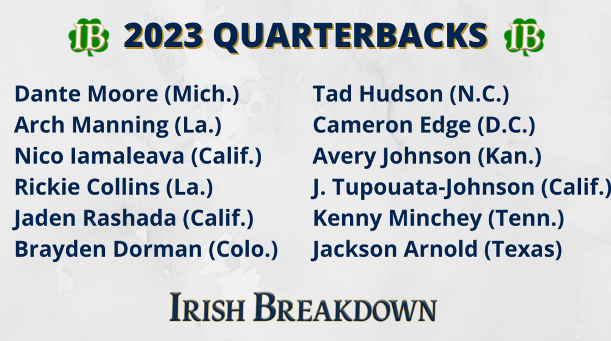 Notre Dame 2023 quarterback targets as of May 14, 2021