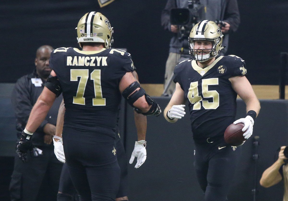 New Orleans Saints tight end Garrett Griffin (45) celebrates after catching a pass for a touchdown against Rams during the NFC Championship. Mandatory Credit: Chuck Cook-USA TODAY Sports