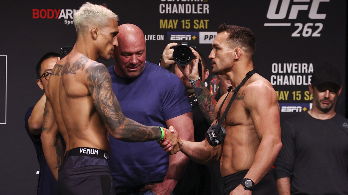 Charles Oliveira and Michael Chandler during weigh ins for UFC 262 at George R Brown Convention Center.