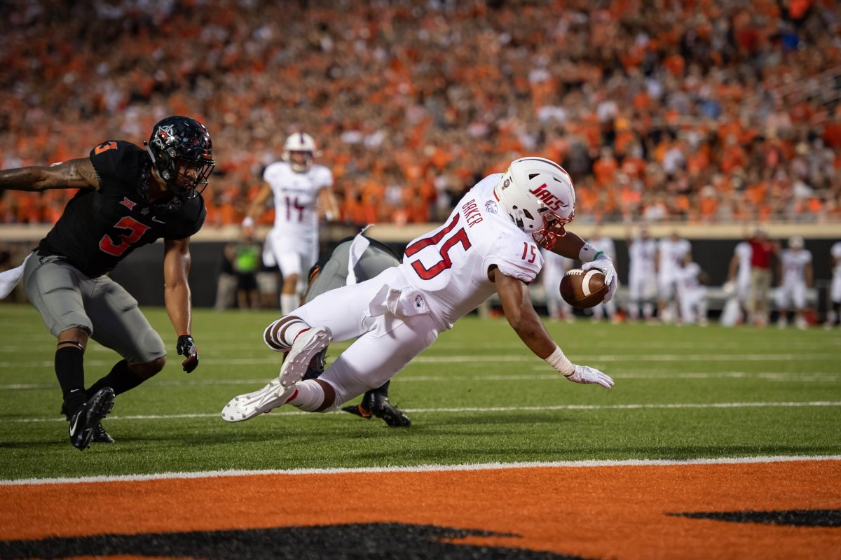 South Alabama receiver Kawaan Baker (15) dives for a touchdown against Oklahoma State. Mandatory Credit: Rob Ferguson-USA TODAY