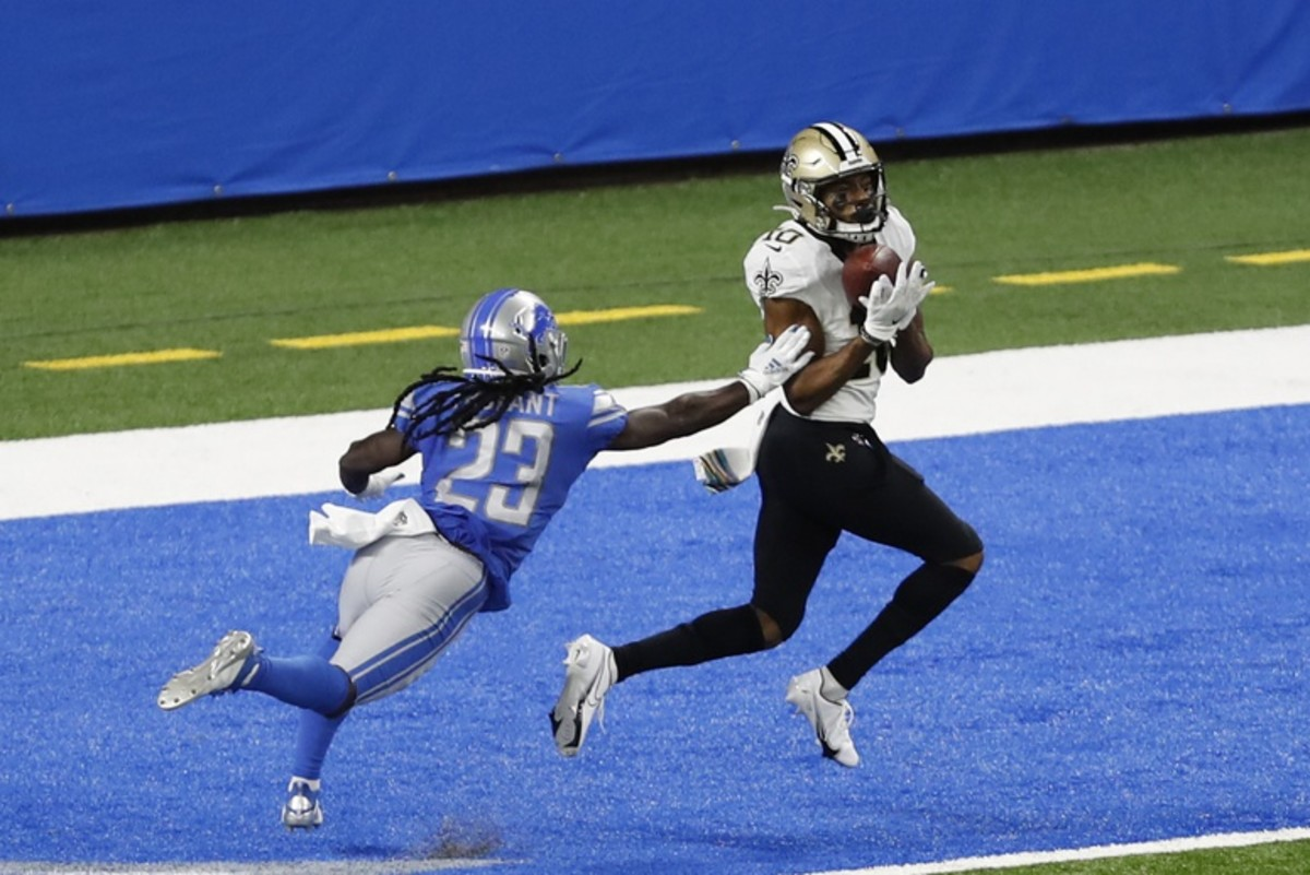 New Orleans receiver Tre'Quan Smith (10) makes a touchdown catch against Detroit cornerback Desmond Trufant (23). Mandatory Credit: Raj Mehta-USA TODAY