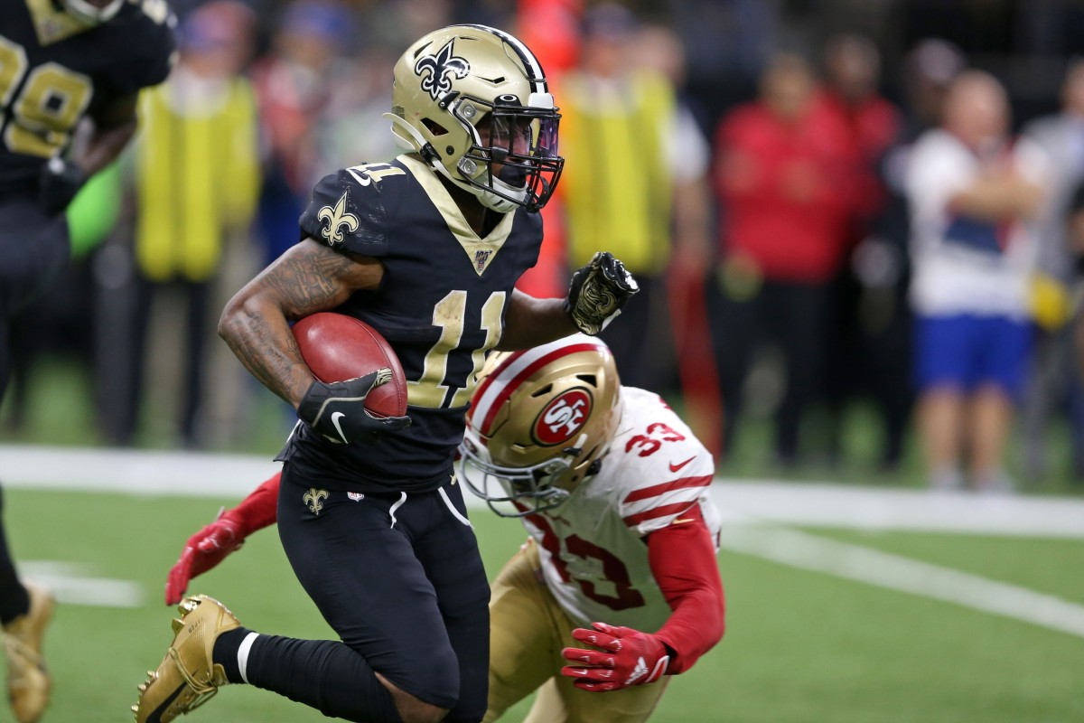 New Orleans Saints wide receiver Deonte Harris (11) returns a kickoff as 49ers free safety Tarvarius Moore (33) chases. Mandatory Credit: Chuck Cook-USA TODAY