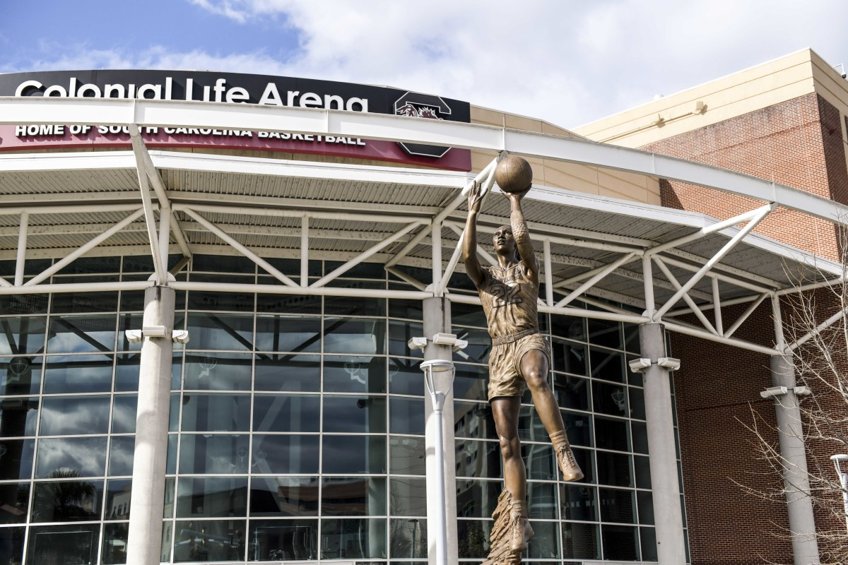 A statue of A'ja Wilson outside Colonial Life Arena