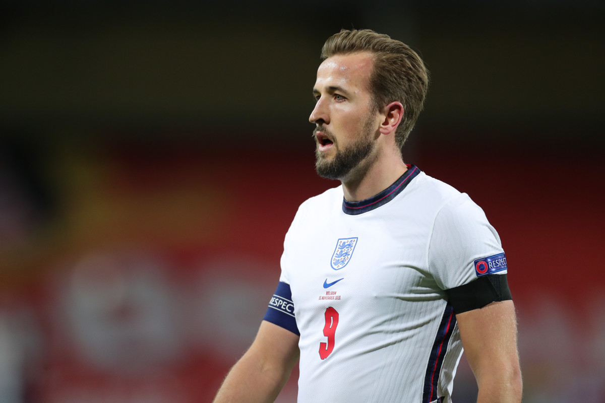 Harry Kane of England reacts during the UEFA Nations League group match between Belgium and England in King Power Stadion.