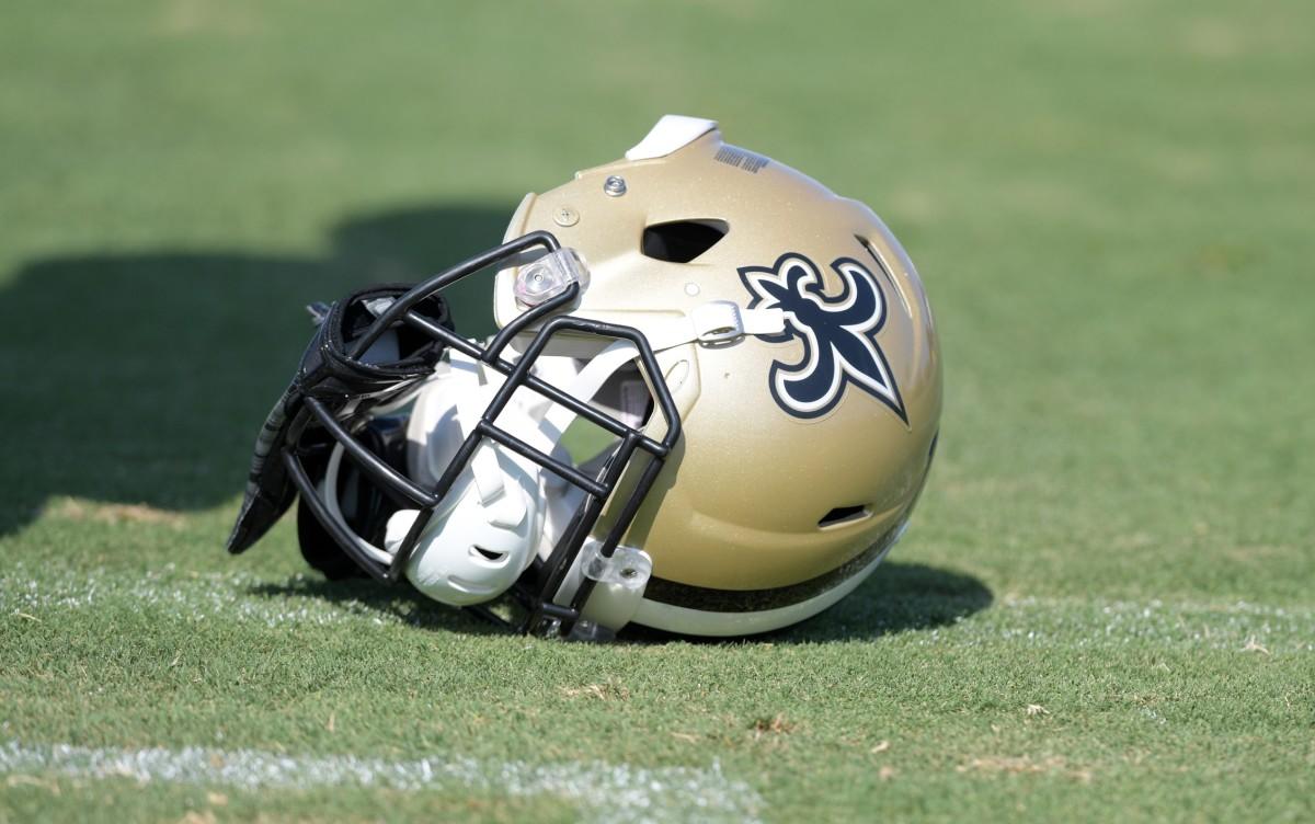 Saints fallen helmet