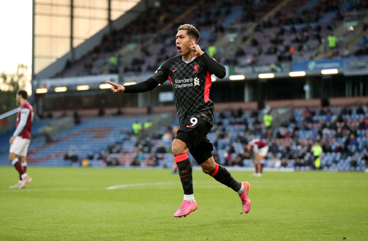 Roberto Firmino celebrates against Burnley