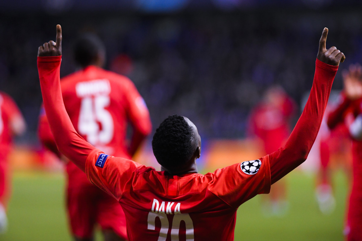 Patson Daka celebrates after scoring for RB Salzburg against KRC Gent in the Champions League