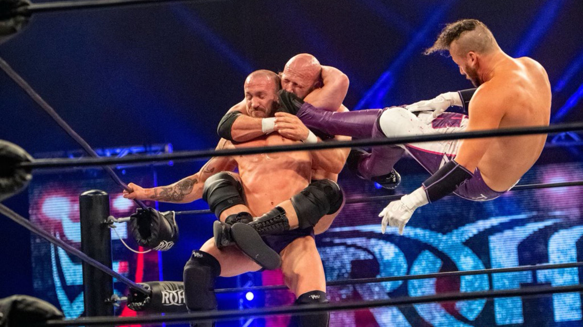 Ring of Honor's Matt Taven delivers a flying kick