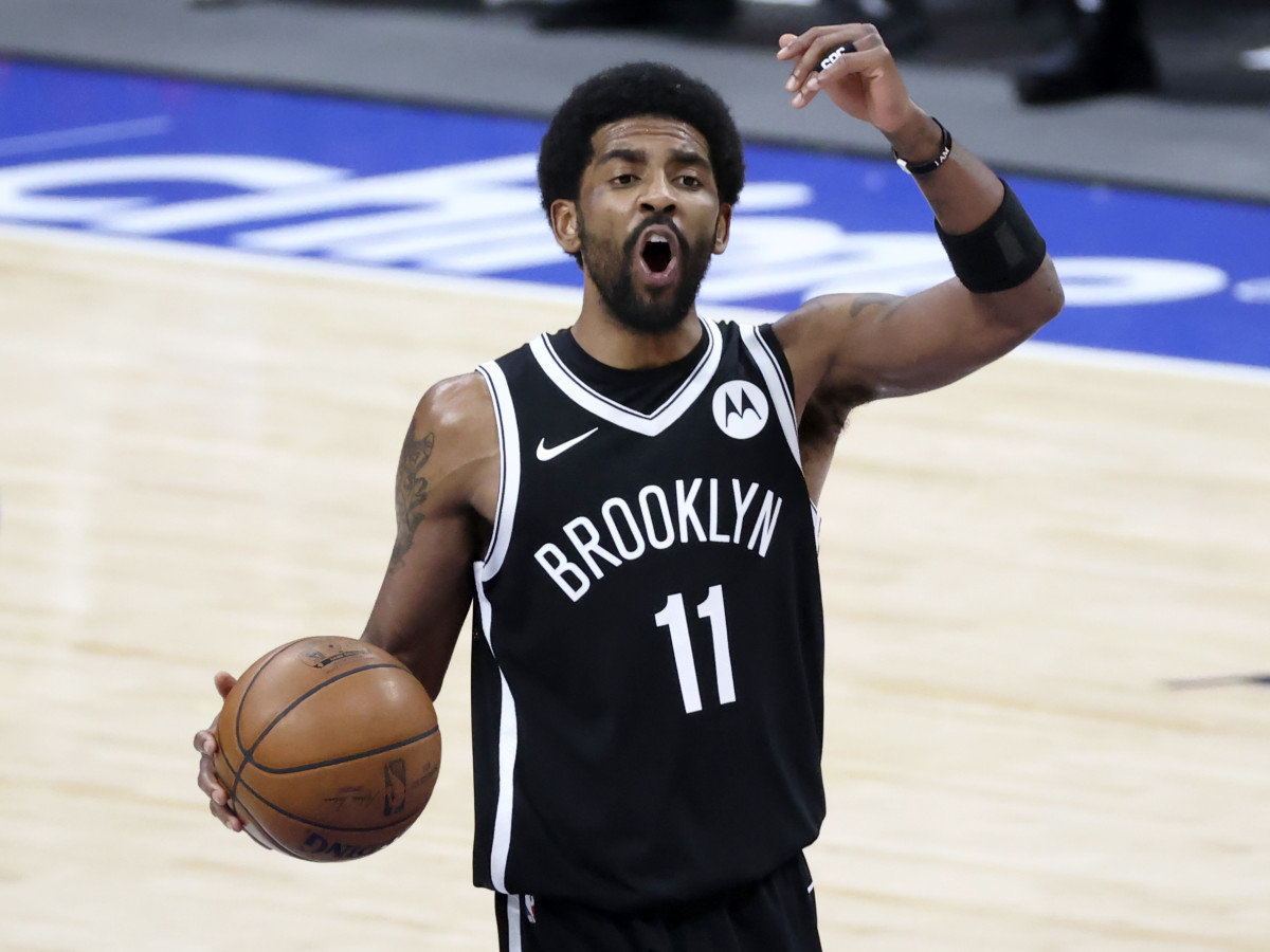 May 6, 2021; Dallas, Texas, USA; Brooklyn Nets guard Kyrie Irving (11) reacts during the third quarter against the Dallas Mavericks at American Airlines Center.