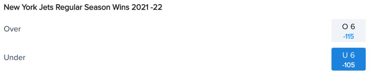 New York Jets Win Total Odds via FanDuel Sportsbook on 05/23/21