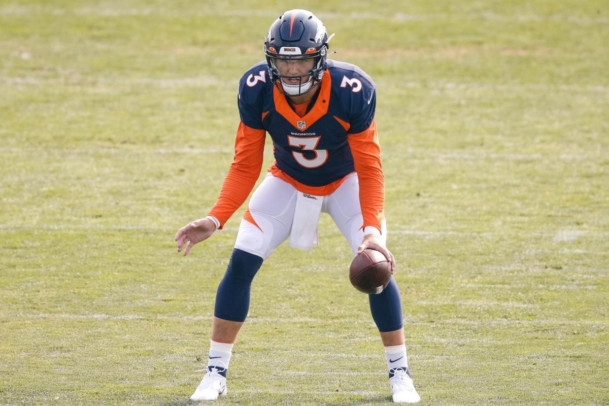 Denver Broncos quarterback Drew Lock (3) during training camp at the UCHealth Training Center.