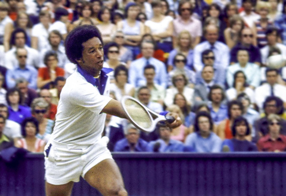 Ashe at Wimbledon in 1975, the year he won the tournament.